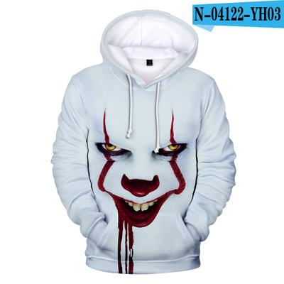 movie IT Pennywise Sweater hoodie Jackets Coats halloween costume it Horror clown cosplay Unisex abult Casual top Haunted Night