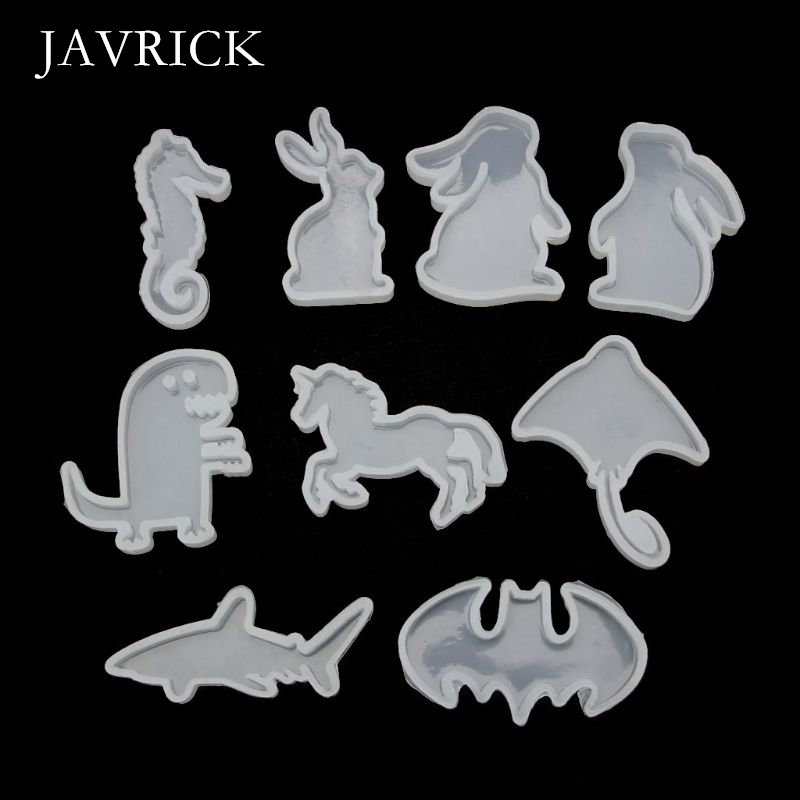 9Pcs Animals Rabbit Shark Pendant Resin Silicone Molds Craft Tool DIY Pendant Accessories Jewelry Making Tool
