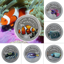 WR 999.9 Silver Plated Coin Decorative Sea Animal Metal Collectible Cute Fake Coins Crafts