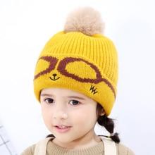 Solid Pom Pom Hats For Babies Cotton Soft Knitted Woolen Caps Earmuffs Hats For Childern Girls Boys Elastic Bonnet Autumn Winter