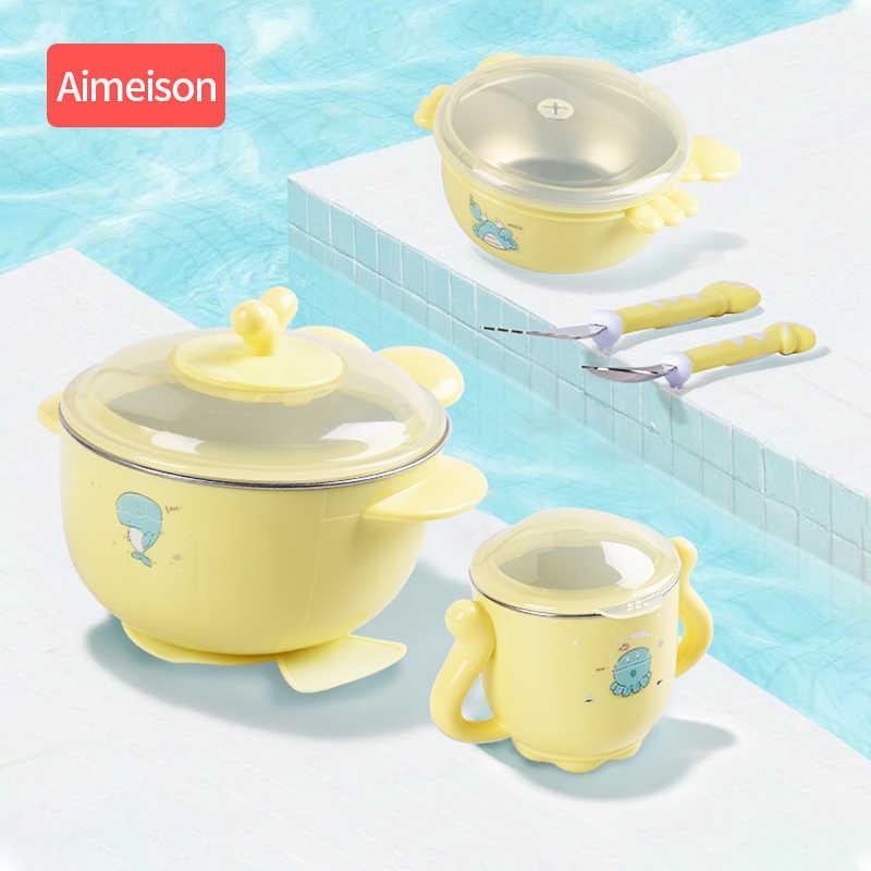 ชุดอาหารเด็กสแตนเลสน่ารักการ์ตูนความร้อนจานเด็กน้ำร้อนฉนวนกันความร้อนชามเด็กให้อาหารอาหารเย็น