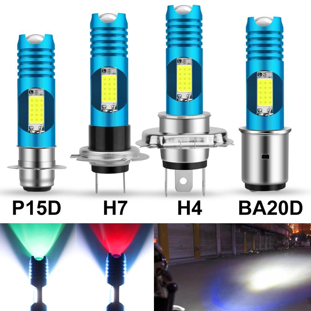 1pcs RGB Changable Car Led H4 H7 Motorcycle Headlight P15D H6 BA20D Wireless Motorcycle Head Lamp DRL LED Bulb Moto Light HS1