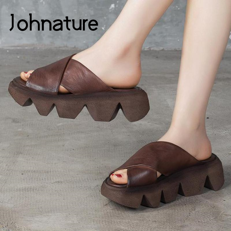 Johnature Platform Slippers Summer 2020 New Women Shoes Genuine Leather Outside Wear Slides Handmade Concise Ladies Slippers