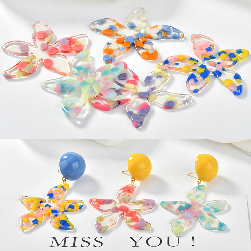 Wind Colour Coloured Acetic Acid Flower Pieces Earrings And Earrings Material Diy Ear Jewelry Accessories