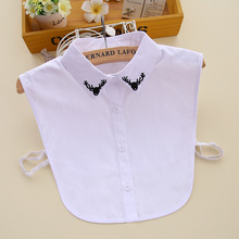 Fake-Collar Detachable Shirt Embroidery Lapel Cotton Women Solid for Vest Sweater-Decoration