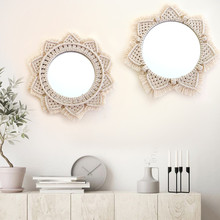 Macrame Wall Hanging Mirrors Ins Nordic Wall Mirrors Hand-made Wall Tapestry Home Porch Mirrors for Home Makeup Bath Room macrame wall hanging mirrors ins nordic wall mirrors hand made wall tapestry home porch mirrors for home makeup bath room