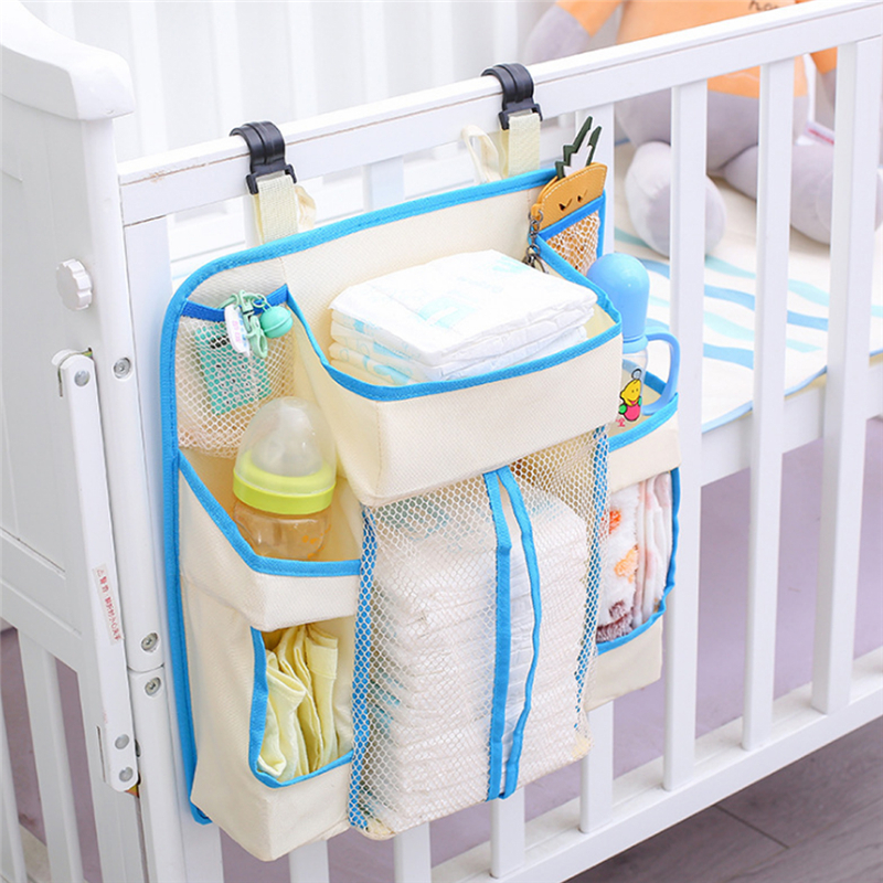 Baby Bed Hanging Storage Bag Waterproof Toy Diapers Bag Multifunction Bedside Blue Organizer Infant Bedding Set Baby Supplies