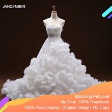 فستان سهرة متعدد الألوان J6662 من jancnov 2020 وشاحات على شكل قلب مع أكمام مكشكشة كريستالية بأربطة من الخلف