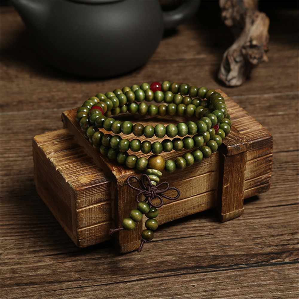 Green 6mm Natural Sandalwood Bracelets & Bangles For Women Buddhist Buddha Wood Prayer Bead Mala Unisex Men Jewelry Bijoux A245