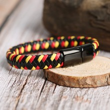 LOULEUR Multicolor Red Braid Leather Bracelet Mens Black Stainless Steel Magnetic Clasp Male Female Wrap Bracelets Gifts