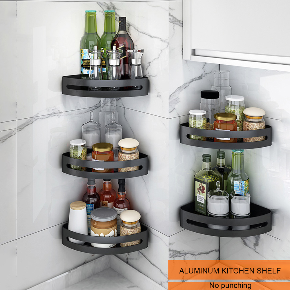 Black Aluminum Kitchen Storage Holder Bathroom Shelf Shower Shelf Bath Shampoo Holder No Punching Kitchen Shelf Wall Hanger Rack