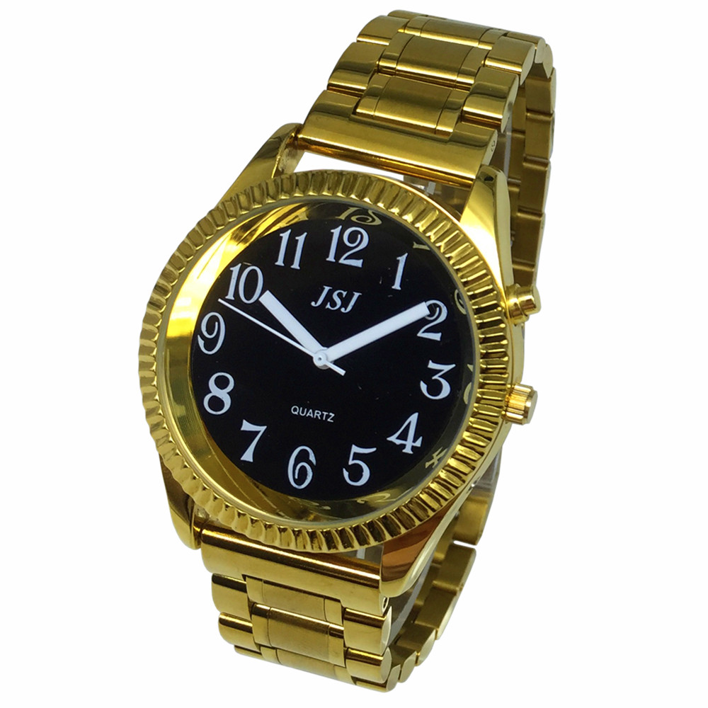 French Talking Watch With Alarm Function, Talking Date And Time, White Dial, Folding Clasp, Golden Case TAF-308