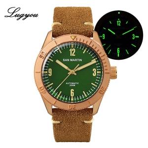 Image 1 - Lugyou san martin bronze mergulhador relógio automático rotativo bisel 200m resistência à água safira abobadada cristal pulseira de couro genuíno