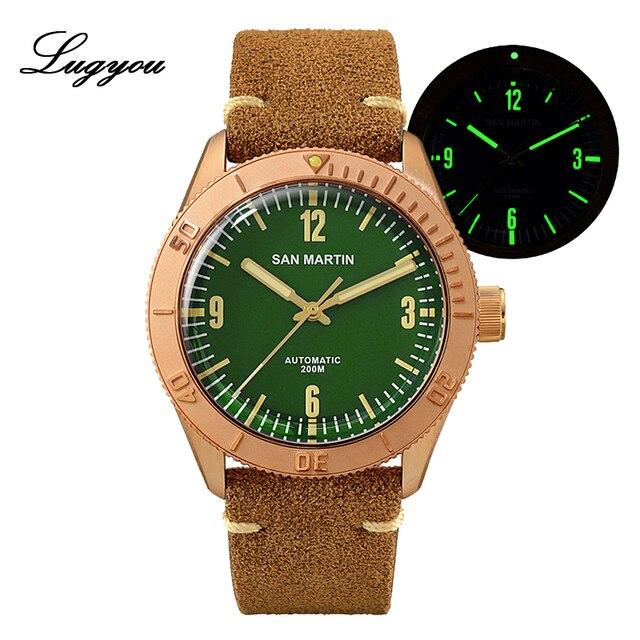 Lugyou san martin bronze mergulhador relógio automático rotativo bisel 200m resistência à água safira abobadada cristal pulseira de couro genuíno