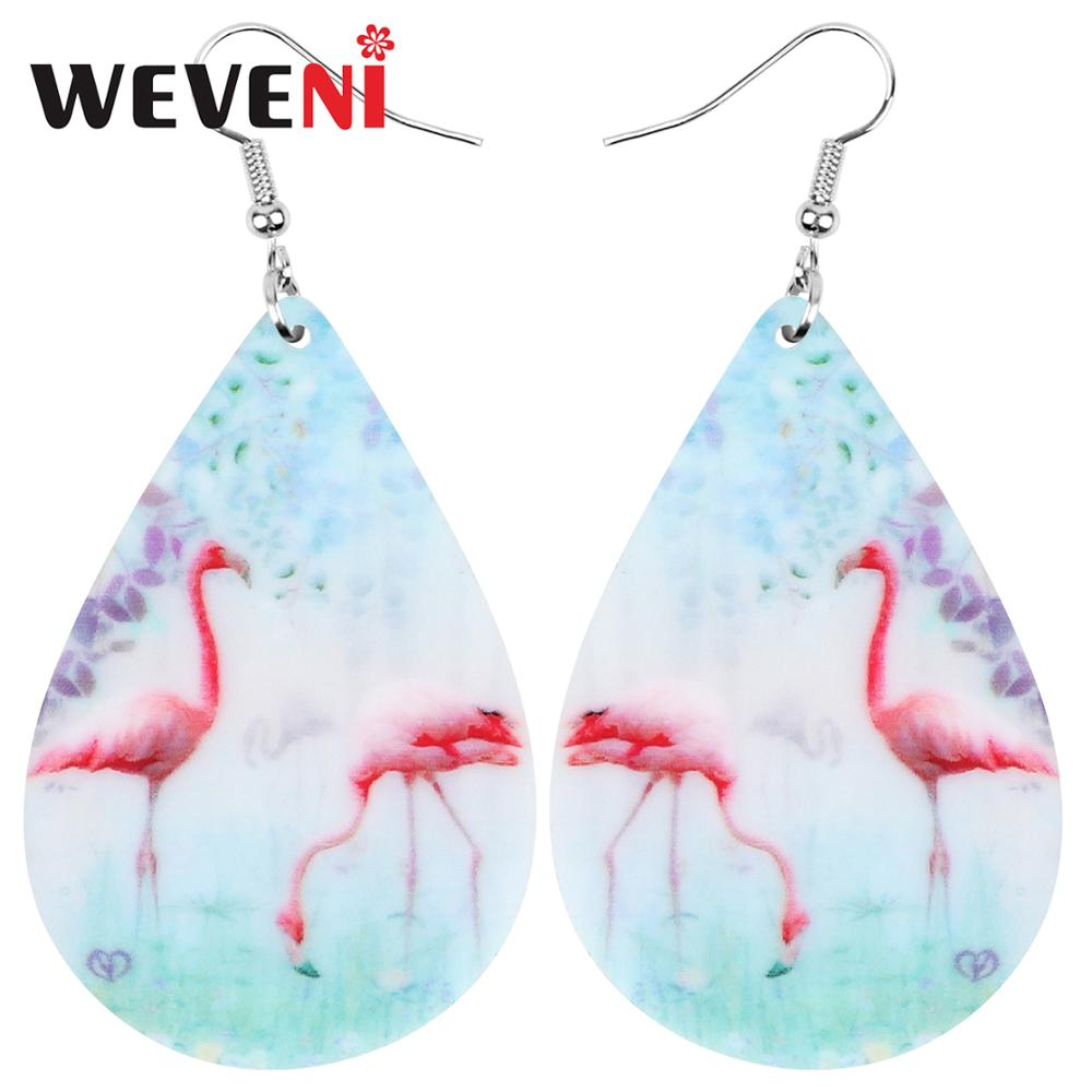 WEVENI Acrylic Teardrop Anime Flamingo Earrings Animal Drop Dangle Jewelry For Women Girls Teen Kids Charm Decorations Gift Bulk(China)