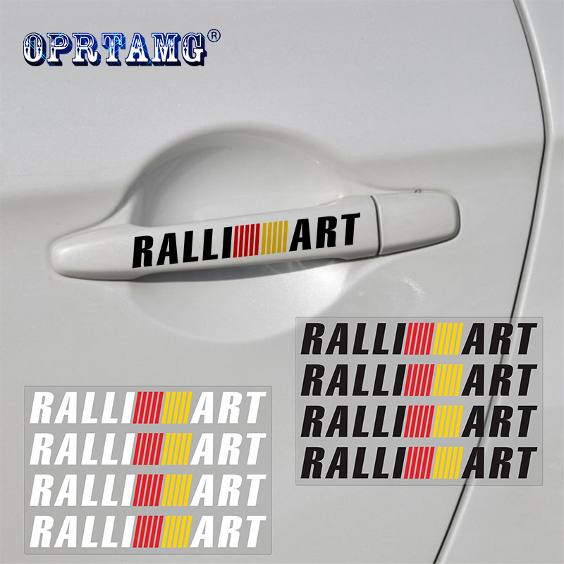 4pcs Car Door Handle <font><b>Sticker</b></font> Decal Sports Ralliart For Mitsubishi RalliArt <font><b>Lancer</b></font> Ralli Art <font><b>10</b></font> Asx Car Emblems Badge Car Styling image