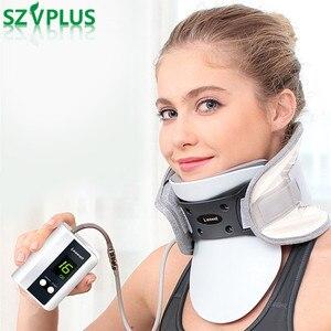 Image 1 - 2018 elétrica pescoço cervical dispositivo de tração ajustável colar inflável casa massagem spondylosis colar pendurado pescoço quadro