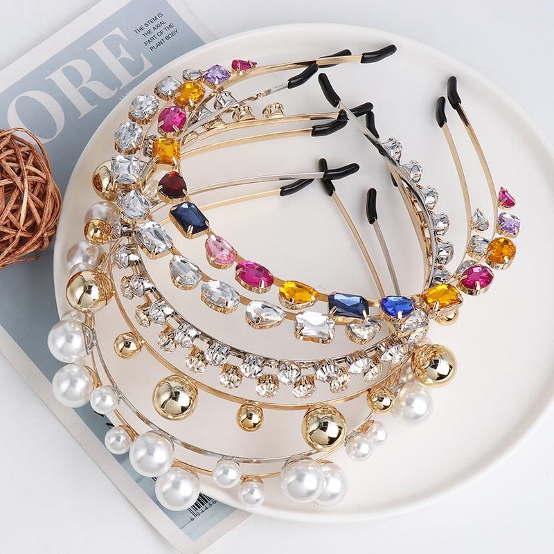 Handmade Pearl Crystal Fashion Hair Bands Elastic Headband Girl's Headwear Hair Clasp Children's Accessories Hair Band Headpiece