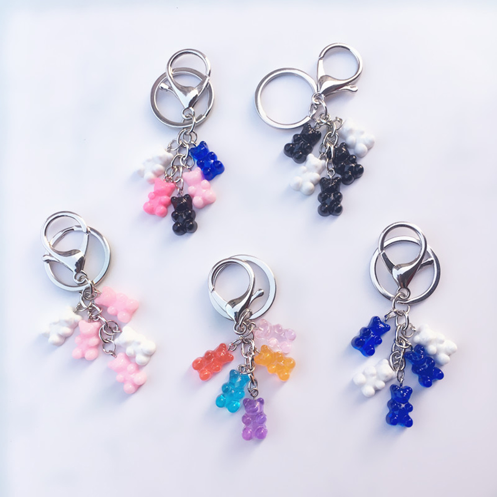 1 Pcs Cute Resin Gummy Bear Keychain For Woman Candy Color Animal Bear Charms Keyring Girls Jewelry Wedding Gifts Charms Pendant
