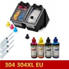 304 Refillable Cartridge+ 100ml X 4 Color Printer Ink  for HP Deskjet 3720 3721 3723 3724 3730 3732 3752 3755 3758