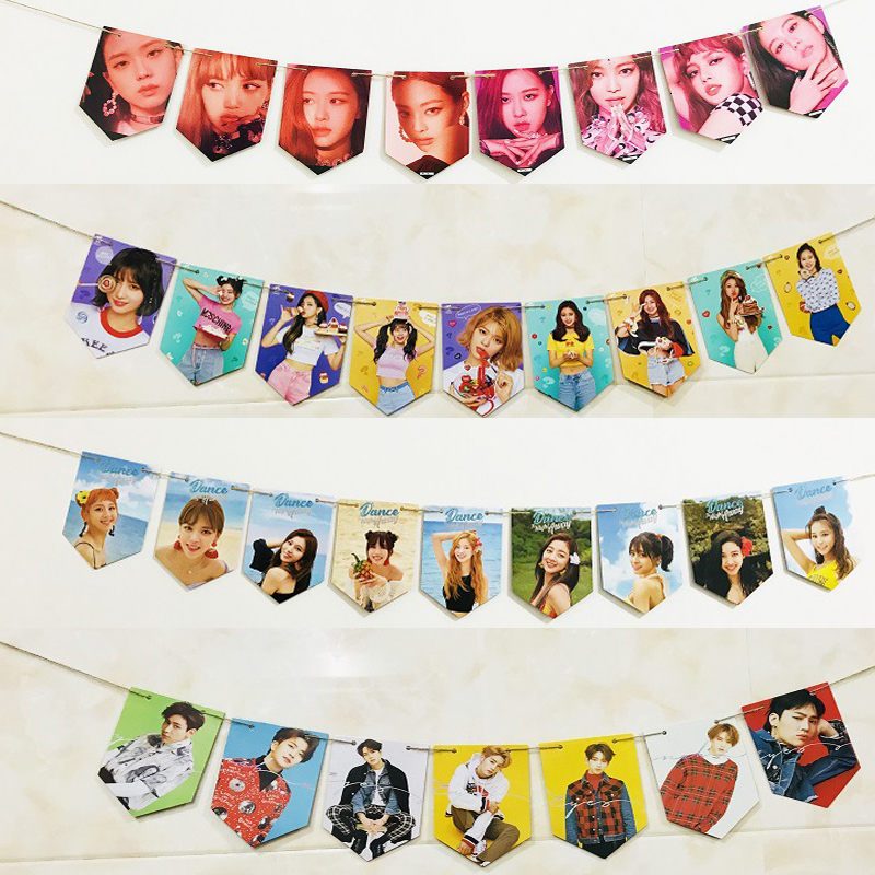 KPOP BLACKPINK TWICE GOT7 Jackson SEVENTEEN Hanging Flag Poster HD Hang Up Photo Picture Pennant Decoration Supplies Fan Gifts
