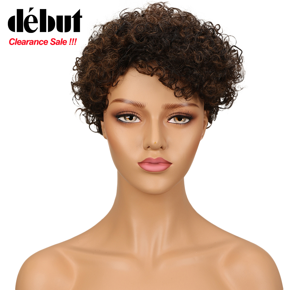 Debut Short Curly Human Hair Wigs For Black Women Afro Kinky Curl Machine Made Human Hair Wigs Red Blonde Color Free Shipping