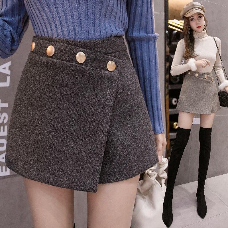 Fashion Ladies Winter Woolen Shorts Metal Buttons Irregular High Waist Skirt Shorts Women Autumn Wide Leg Warm Short Feminino