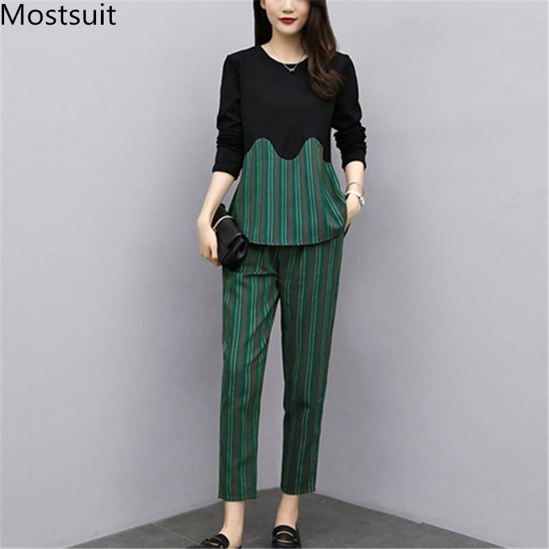 L-5xl 2019 Autumn Striped Two Piece Sets Outfits Women Plus Size Long Sleeve Tops And Pants Suits Office Elegant Korean Sets