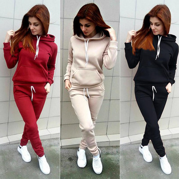 ZOGAA New Tracksuit Women Two Piece Sets Outfits Fleece Large Pocket Hooded Pullover Sweat Suits Sportwear