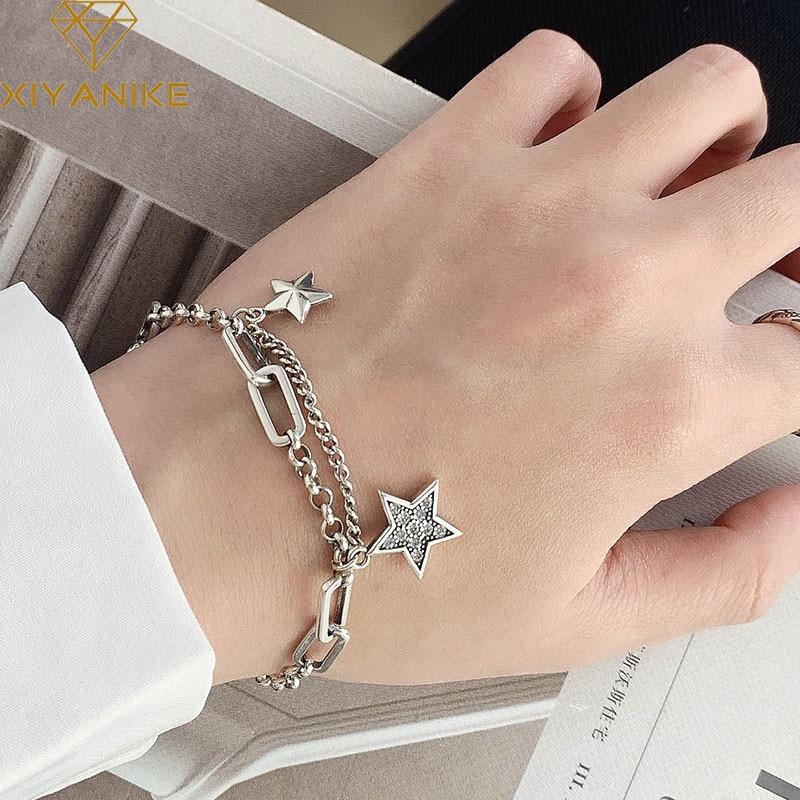 XIYANIKE Wholesale 925 Sterling Silver Charm Bracelet For Women Couples Vintage Simple Stars Zircon Bracelets Party Jewelry Gift