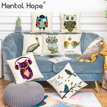 Night Owl Printed Decorative Throw Pillow Cover Home Decor Linen Cotton Bird Pattern Cushion Cover Sofa Bed Square Pillowcase