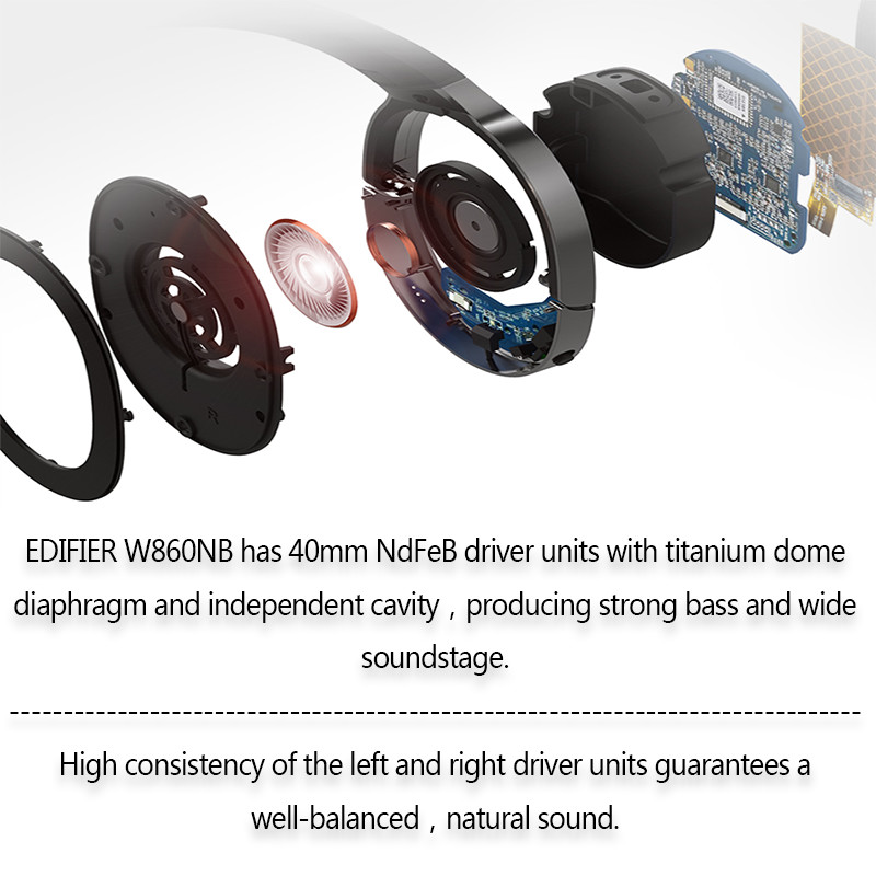 EDIFIER W860NB Bluetooth Earphone ANC Support aptX Decoding Touch Control Wireless Earphones 45h Playing Time for xiaomi IOS