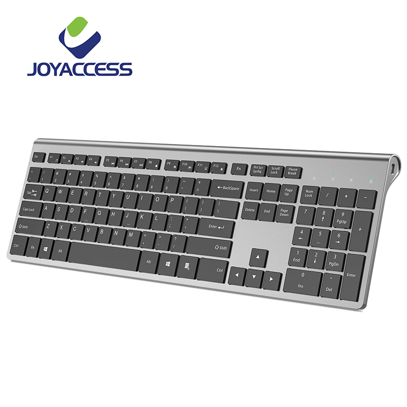 JOYACCESS Full Size Rechargeable Wireless Keyboard Silent Key Ergonomic Spanish/Italian/German/French/Russian/English For Office