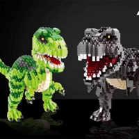 1457pcs+ 16089 16088 Mini Blocks Green Dinosaur Building Toy Classic Model Jurassic Park Figure Toys Home Fun Game