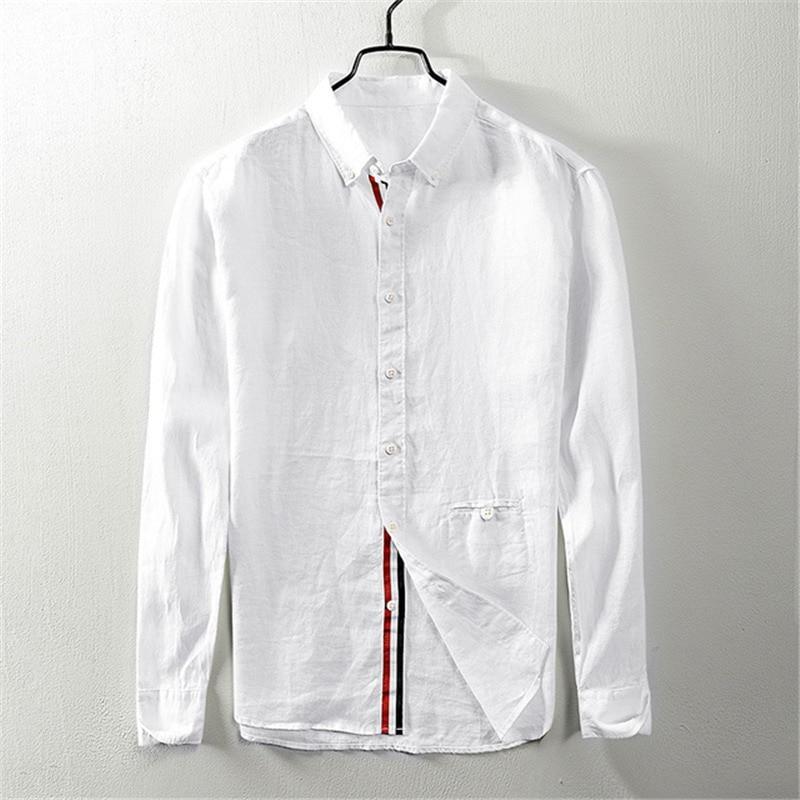 Autumn 2019 new long sleeve Linen Shirt leisure retro color belt hemp buckle pocket square collar shirt 9023