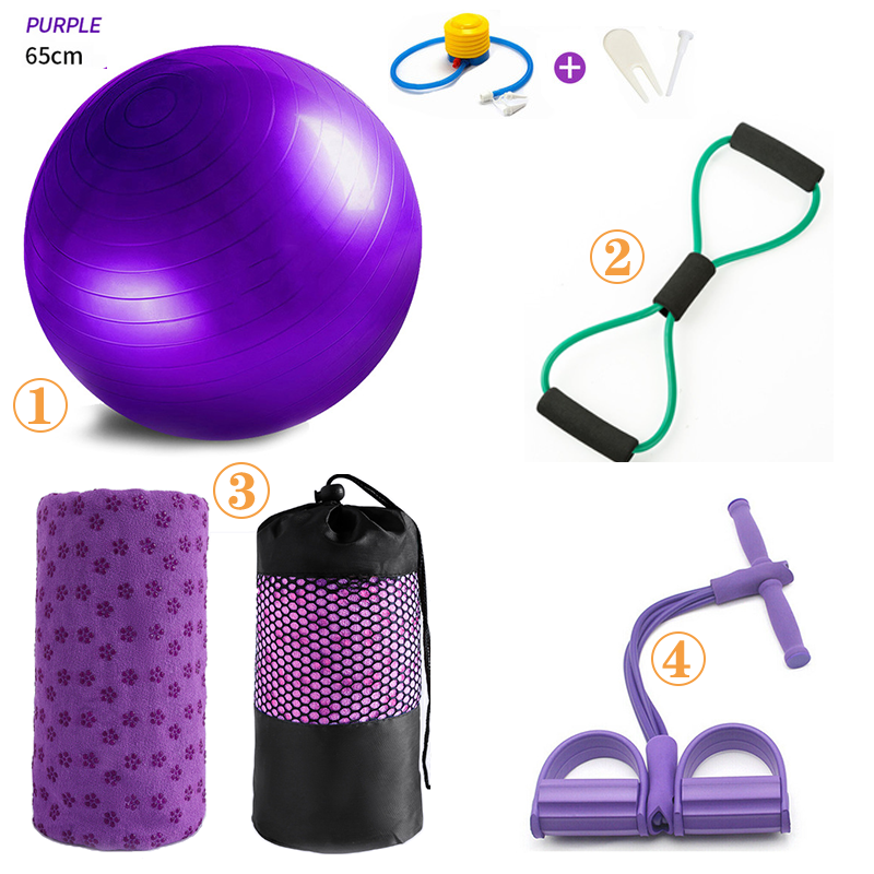 4Pcs Sport Fitness Yoga Ball Set Includes 65cm Fitball Pilates Balance Gym Exercise Yoga Ball Yoga Mat Towel Pedal Ttension Rope