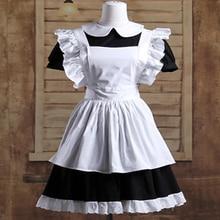 הוט קוטור גותי לוליטה מותניים סינר שמלת עוזרת חליפות כותנה יפני קוספליי תחפושות לבן טלאי רול שרוולים קצר