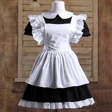 Haute Couture Gothic Lolitaเอวผ้ากันเปื้อนชุดแม่บ้านชุดผ้าฝ้ายญี่ปุ่นชุดคอสเพลย์สีขาวPatchworkม้วนแขนสั้น