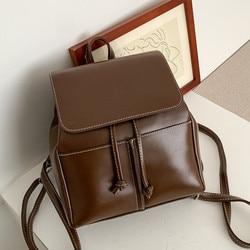 Mode femmes sac à dos en cuir PU sac d'école petit cartable pour adolescentes cordon sacs à dos dames sac à dos bolsa noir