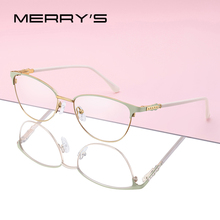 MERRYS デザイン女性ファッションキャットアフレームレトロ眼鏡近視処方光学眼鏡 S2117