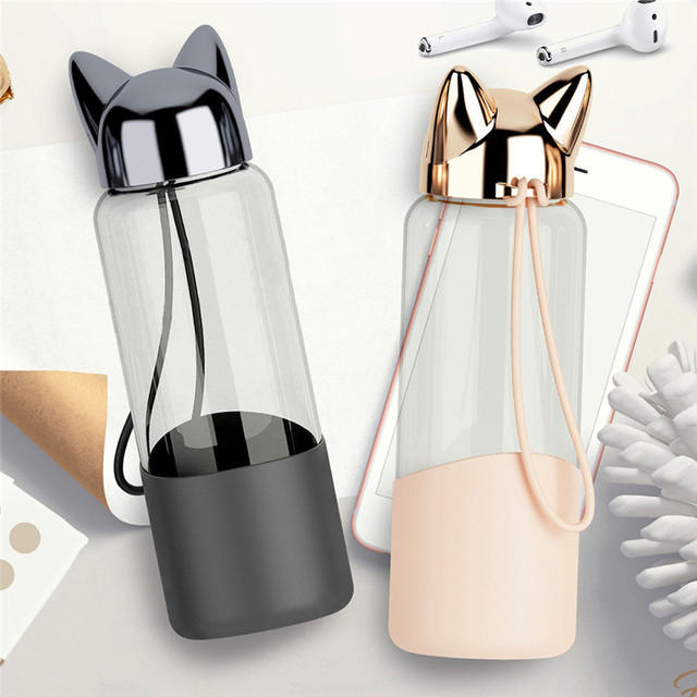 Portable Cute Fox Glass Water Bottle BPA Free 320ML Transparent Bottle For Water Bicycle Tour Sport Style Non-slip Drinkware @C 2