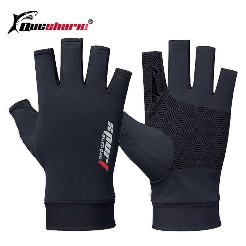 Ice Silk Half Finger Cyling Gloves Sun Screen Anti-slip Palm Hiking Fishing Gloves Outdoor Uv Protection Bicycle Mittens image