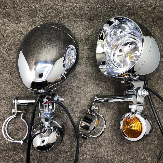 Luz de seta universal para motocicleta, cromada, luz auxiliar, drive, indicador de passagem, com suporte para garfo, de montagem