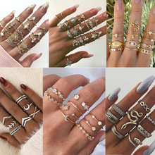 22Styles Vintage Rings Set For Women Boho Moon Star Knuckle Finger Ring Female Bohemian