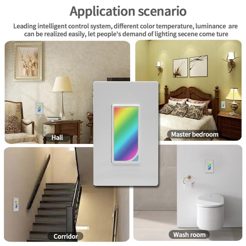 Le plus nouveau commutateur intelligent de lumière de WiFi LED la couleur de scène de rvb changeant avec la commande vocale à distance et la minuterie, domotique intelligente de compte à rebours