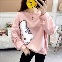 Milinsus Plus size Cute cat Cartoon Sweatshirt Women pink Long sleeve Printed korean Hoodie Female Tops Autumn 2019