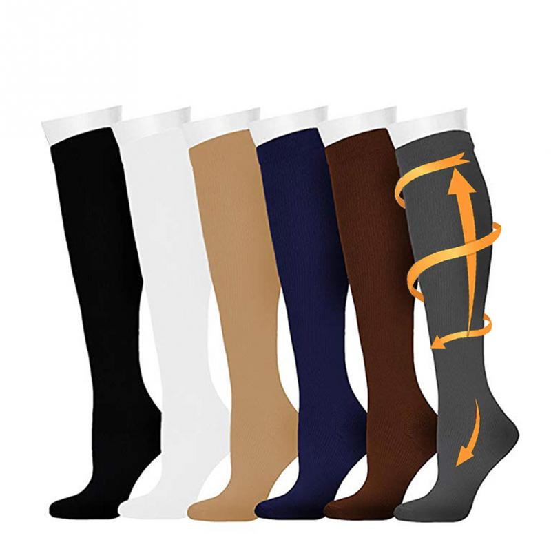 Men Multicolor Anti-Fatigue Varicose Vein Compression High Top Socks Stockings Blood Circulation Breathable Sweat Wicking Travel