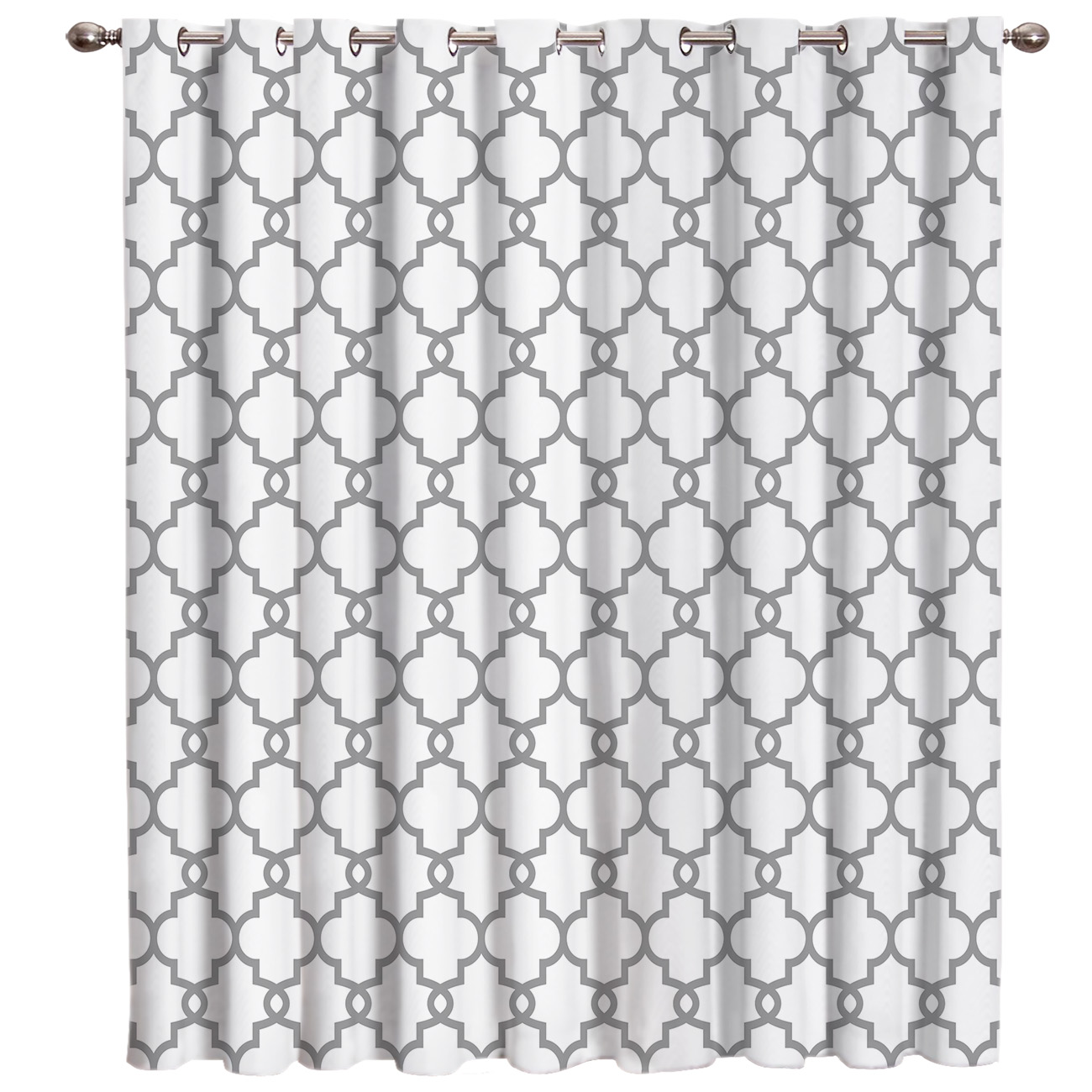 Moroccan White And Black Pattern Room Curtains Large Window Decor Bathroom Outdoor Kitchen Indoor Decor Kids Curtain Panels