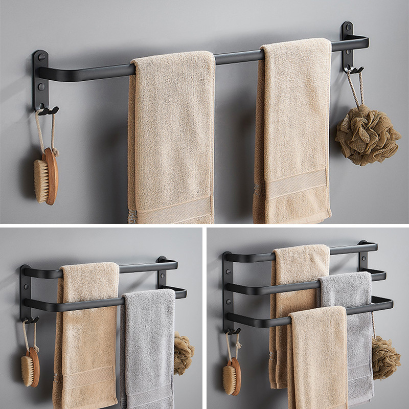Wall Mounted 30-50CM Length Black Towel Rack Holder  Storage Double Three Bar Kitchen With Robe Hook Hanger Bathroom Accessories
