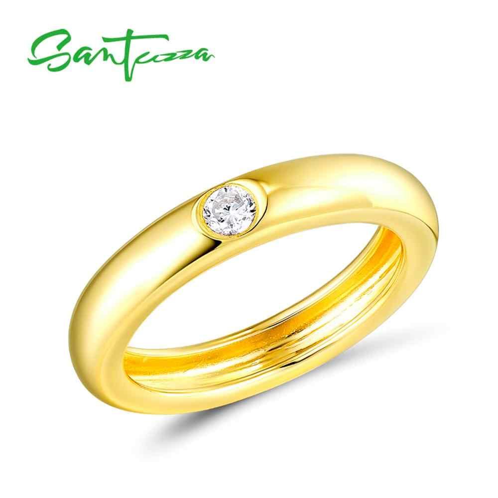 SANTUZZA แหวนเงินผู้หญิง 925 เงินสเตอร์ลิงสีอัญมณีหิน STACKABLE Eternity แหวนแฟชั่นอินเทรนด์เครื่องประดับ